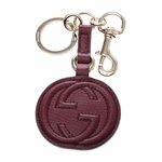 Gucci Maroon Leather Keychain