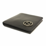 Gucci Men's Black Leather Beaded Interlocking GG Logo Bifold Wallet 282665