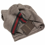 Gucci Men's Brown Wool Original Green Red Web Tricot Scarf 327377