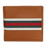 Gucci Men's Leather Web Bifold Wallet 231845,  Saddle Brown
