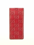 Gucci Money Clip Red Leather GG Embossed