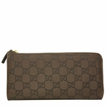 Gucci Monogram GG Logo Brown Nylon and Leather Zip Around Wallet 268917