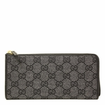 Gucci Monogram GG Logo Washed Black Canvas and Leather Around Wallet 268917