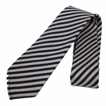Gucci Navy Blue and White Stripped Men's Silk Tie 375990
