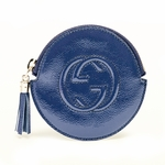 Gucci Navy Blue Patent Leather Zip Coin Purse 337946 AB80G