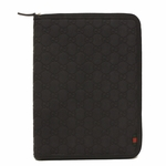 Gucci Navy Blue Rubberized Guccissima Leather Zip iPad Case 322211