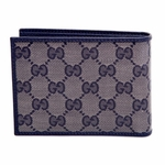 Gucci Navy Mens Bifold Wallet Crystal Collection