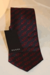 Gucci Navy/Red Silk Horsebit Tie 217226