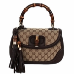 Gucci New Bamboo Large Top Handle Bag Beige with Dark Brown 254883