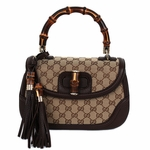 Gucci New Bamboo Large Top Handle Bag Beige with Dark Brown