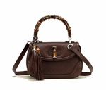 Gucci New Bamboo Large Top Handle Bag Brown Diamante Leather 254883