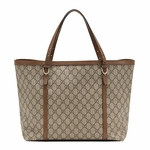 Gucci Nice GG Supreme Canvas and Brown Leather Tote Bag 309613