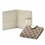 Gucci Original Canvas and White Leather Heart French Flap Wallet 203549