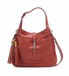 Gucci Pink Coral New Jackie Leather Shoulder Bag With Bamboo Tassel Large 246907