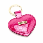Gucci Pink Fuschia Patent Leather Heart Key Chain Ring 199915 AZA1G
