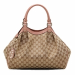 Gucci Light Pink Leather Trim Sukey Shoulder Bag 211944