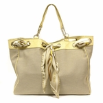 Gucci Positano Scarf Beige Canvas Guccissima Leather Tote 285586