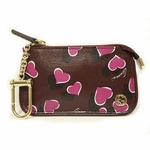 Gucci Purple Leather Interlocking GG Logo Heart Clip Case 338331