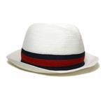 Gucci Red and Blue Straw Fedora Hat