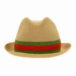 Gucci Red and Green Straw Fedora Hat