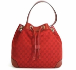 Gucci Red Canvas and Leather Drawstring Satchel Handbag 272374