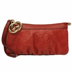 Gucci Red Guccissima Leather Zip Top Clutch Bag 212203