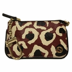 Gucci Red Leopard Print Leather Keychain Wallet Bag 233183