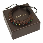 Gucci Rolled Brown Leather Bracelet With Multicolor Beads 373838