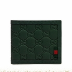 Gucci Rubberized Leather Hunter Army Green Bifold Wallet 225826