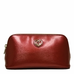 Gucci Shiny Red Leather Interlocking Logo Zip Cosmetic Case 338190