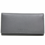 Gucci Silver Grey Leather Continental Flap Wallet 305282