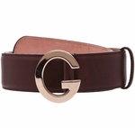 Gucci Soft Brown Leather G Buckle Belt 362732 Unisex