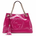 Gucci Soho Fuchsia Hot Pink Patent Leather Chain Shoulder Bag 308982