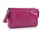 Gucci Soho Interlocking GG Fuschia Hot Pink Patent Leather Cosmetic Clutch Bag 338191 AB80G