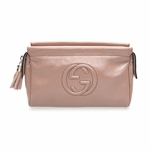 Gucci Soho Mauve Pink Patent Leather Cosmetic Clutch Bag 338191