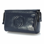 Gucci Soho Navy Patent Leather Cosmetic Clutch Bag 338191