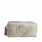 Gucci 'Soho' Leather Cosmetic Zip Top Bag 308637, Grey Gunmetal