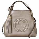 Gucci Soho Leather Medium Shoulder Bag 282309 Gray Pewter