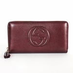 Gucci Soho Metallic Burgundy Leather Zip Around Wallet 308004