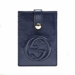 Gucci Soho Navy Blue Patent Leather Business Card Case 338331 AB80G