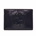 Gucci Soho Navy Blue Patent Leather Envelope Business Card Case 337945 AB80G