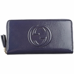 Gucci Soho Navy Blue Patent Leather Zip Wallet 308004