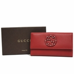 Gucci Studded Interlocking GG Logo Leather Continental Flap Wallet 231843, Lipstick Red