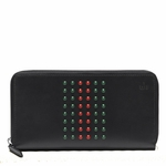 Gucci Studded Web Black Leather Zip Around Wallet 336465