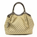 Gucci Large Sukey Brown Leather and Canvas Tote Bag 362721