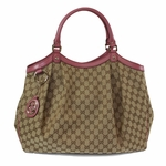 Gucci Pink Leather and Canvas Large Sukey Shoulder Bag 211943