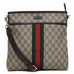 Gucci Supreme Canvas and Leather Brown Crossbody Messenger Bag 388926