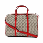 Gucci Supreme Canvas and Leather GG Logo Boston Bag 322231, Red