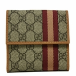 Gucci Supreme Canvas and Leather Web French Flap Wallet 282472