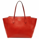 Gucci Swing Red Leather Shoulder Tote Handbag 354397